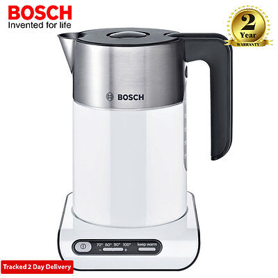 Bosch TWK8631GB White 1.5L 3kW Rapid Boil Styline Collection Digital Jug Kettle