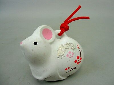 DR24 Japanese Clay Bell Vintage Hand painted Rabbit Lucky Charm Ceramic Dorei