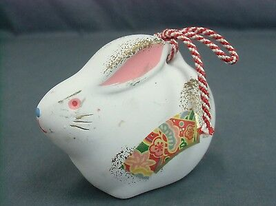 DR97 Japanese Clay Bell Vintage Hand Painted Rabbit Lucky Charm Ceramic Dorei