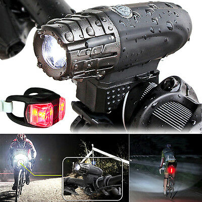 USB Rechargeable 360° Rotation Bike Bicycle Front Light Headlight +Taillight Set