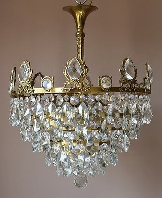 "18.11"" Width 1940'S Antique French Vintage Crystal Chandelier Old Lamp Lighting"