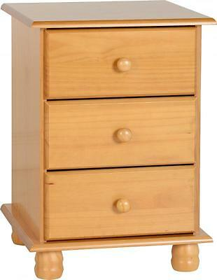 Sol 3 Drawer Bedside Cabinet Solid Antique Pine Chest / Table Free Delivery