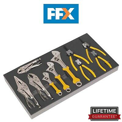 Sealey S01130 Tool Tray with Adjustable Wrench & Pliers Set 10pc