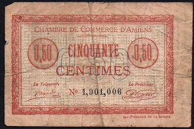 1915 France - Chambre De Commerce, D'amiens  50 Centimes Banknote * 1901006 *