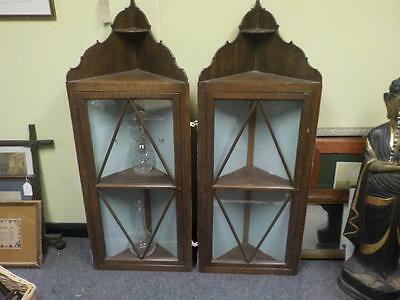 Antique / Vintage Two Oak Corner  Cabinets With Glass Doors