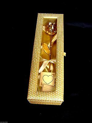 Christmas Gift - 12 Inch 24K Gold Dipped Real Rose in a Gold Egyptian Casket NEW
