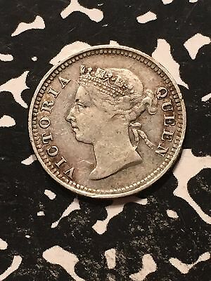 1886 Mauritius 10 Cents Lot#7691 Silver!