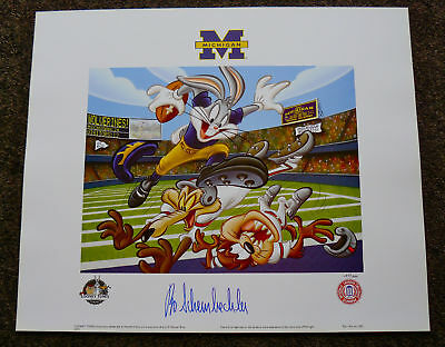 University Of Michigan Bugs Bunny Signed Bo Schembechler Lithograph Wolverines