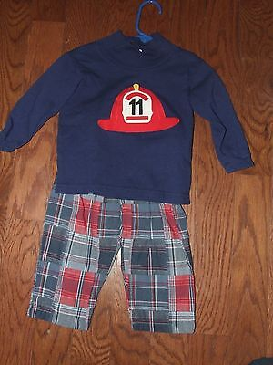 Funtasia Too 24m Fireman Shirt Plaid Pants Outfit Red Hat Blue Boutique Long Sle