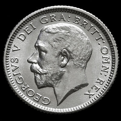 1925 George V Silver Sixpence – Broad Rim – Scarce – UNC