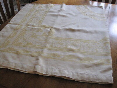 Vtg Irish Linen Damask Tablecloth Yellow Hemstitched Acanthus