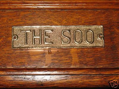 Cast Solid Bronze Ice Box Hardware 1890 Tag Plate Sign (The Soo) Polish Lacquer