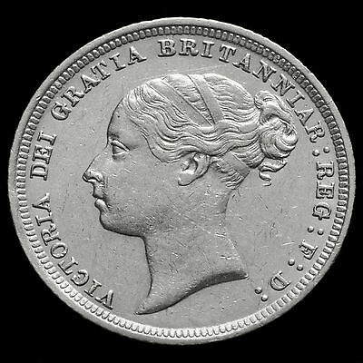 1885 Queen Victoria Young Head Silver Sixpence – Scarce – A/EF