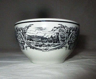 "Shenango Restaurantware 3.75"" x 2.25"" Mini Sugar Bowl, Black Band, Steam Trains"
