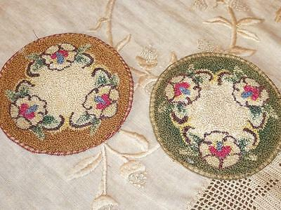 2 Antique Vintage MINIATURE DOLL VICTORIAN Colonial Hooked Floss RUG Lot JAPAN