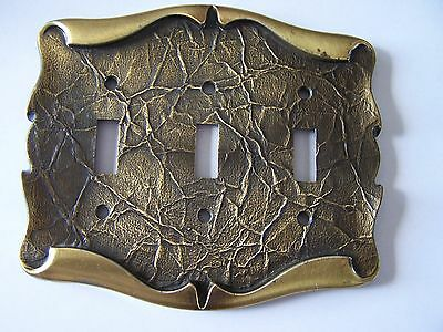 Vintage Amerock Carriage House Brass Light Switch Plate Cover 3 Toggle