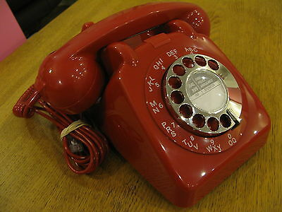 Immaculate,as New 706 Laquer Red Gpo Telephone; Chrome Carrying Handle