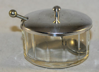 Antique Glass & Silver Plated Mustard Pot with Spoon