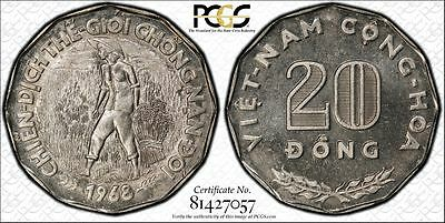 South Vietnam 20 Dong 1968 MS67 PCGS KM#11 Proof Like FINEST POP 5/0