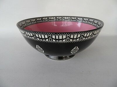Antique 1919 Royal Worcester Pink Black And White Punch Or Fruit Bowl