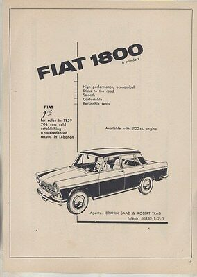 1960 Fiat 1800 & Carrier Air Conditioning Lebanon Magazine Ad ww3575