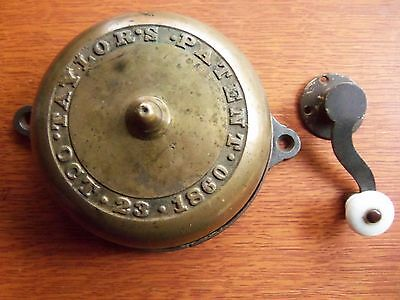 Antique Large Mechanical Brass Doorbell & Porcelain Twist 1860 Taylor's