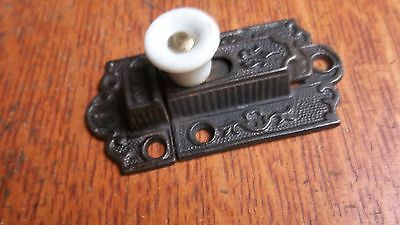 Antique Fancy Cast Iron & Porcelain Cabinet Latch Pat.1871 Excellent & Unusual