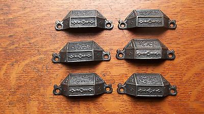 Six Fancy Antique Iron Victorian Drawer Handles or Pulls c1885 Corbin