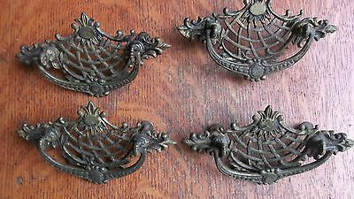 Four Antique Large Fancy Brass Basket-Weave Victorian Cabinet Pulls c1885