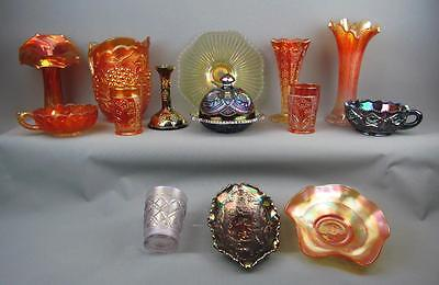 CARNIVAL GLASS LOT - 14 SHELFERS Northwood Dugan Fenton Imperial Smith