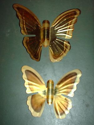 Set Of 2 Home Interiors Gold Metal Butterfly Wall Hanging Plaques