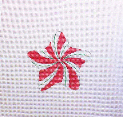 Yummy Peppermint Candy Star Christmas Ornament Handpainted Needlepoint Canvas