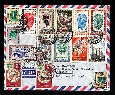 13919-COTE D´IVOIRE-AIRMAIL COVER ABIDJAN to BELGIUM.1969.FRENCH Colonies.Aerien