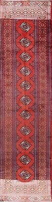 Clearance Geometric Long Runner 3x12 Turkoman Persian Oriental Rug Carpet Wool