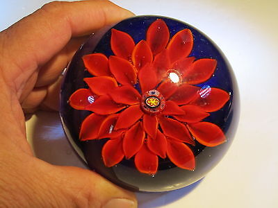 Quality Large Red Flower Petals Over Blue Base Glass Paperweight