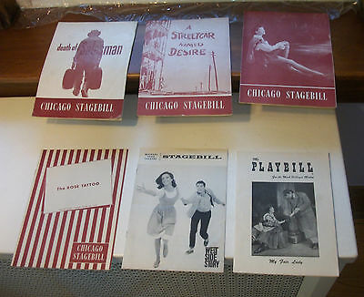 6 Playbills – West Side Story (Wood) Rose Tattoo (Mineo) Death of a Salesman +++