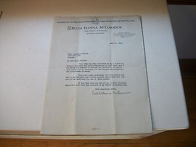 Ruth Hanna McCormick Signed Letter April 6 1928  Free Shipping