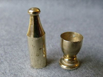 Collectable Miniature Brass Wine Bottle and Goblet