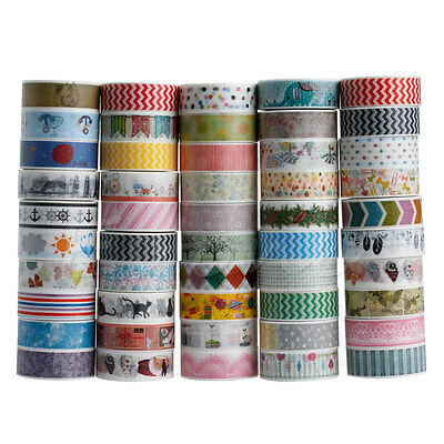 Lot 1.5cm×10M DIY Paper Sticky Adhesive Postcards Sticker Decorative Washi Tape