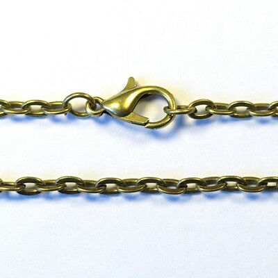 76cm long Ready Made 3mm CABLE CHAIN NECKLACE pendant findings - ANTIQUE BRASS