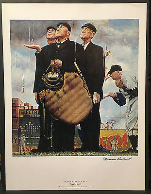 """Norman Rockwell: """"Tough Call"""" Original Offset Lithograph Hand Signed 1949"""