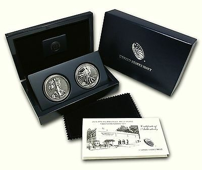 USA 2013 Eagle West Point Two-Coin Silver Set  2 x 1$ 2 Unzen Silber Box + COA