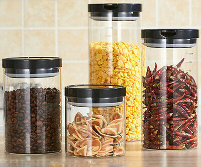 Clear Glass Canister Snack Tea Coffee Kitchen Storage Jar Bottle With Clip Top