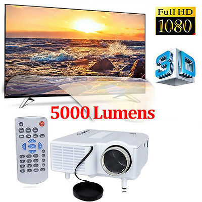 LED Projector LED LCD Home Theater Cinema Multimedia HDMI 5000 Lumens 1080P UK