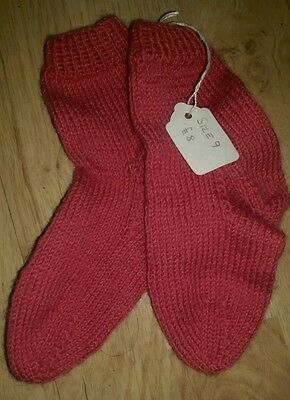 Kids Pink Hand Knitted Socks. Size 9