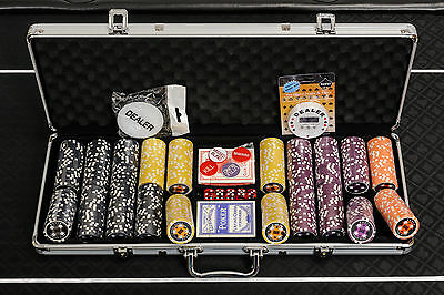 WPC Poker Chips Set - 500 Piece Numbered Poker Set with Free Extras