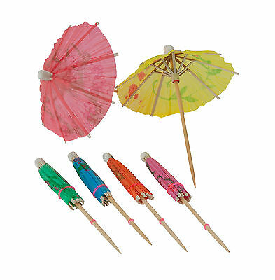 TRADITIONAL PARTY COCKTAIL UMBRELLAS IN ASSORTED DESIGNS & COLOURS Lots of 10