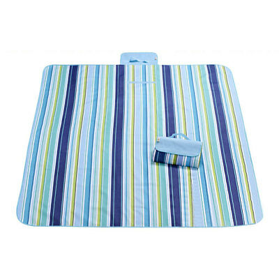 Outdoor Travel Stripe Pattern Moisture Resistant Beach Picnic Mat 200 x 145cm