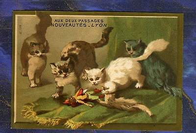chromo Laas 578 deux passages Chat Cat Chatons Polichinelle Punch Trade Card