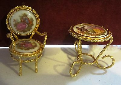 Limoges Miniature Dollhouse Chair And Table
